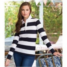 FR111 Front Row Ladies Striped Rugby Shirt